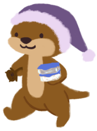 Cuddle the otter, walking and holding tupperware in one arm and Party in the other.