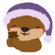 Cuddle the Otter, hugging Party the Otter Plushie against her cheek, with a content smile.