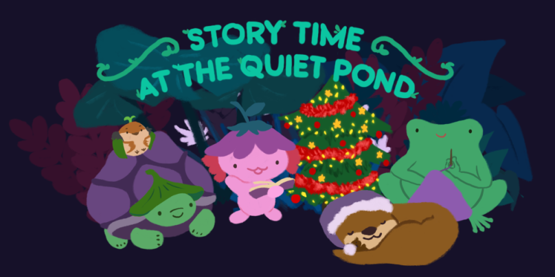 Story Time at the Quiet Pond. All the Pond friends gathered around, with a Christmas tree in the background.
