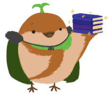 Sprout the sparrow holding up a pile of sparkling books.