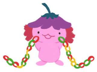Xiaolong the axolotl holding up two colourful paper chains