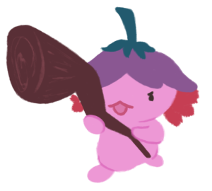 Xiaolong the axolotl with her staff raised, with a determined expression on her face.