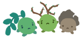 Three forest sprites - one of a leaf, one of a twig, and one of a rock - with sad and dejected expressions on their faces.