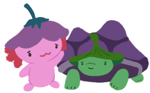 Xiaolong the axolotl, with her hand on Gen's shell, who has a sad and worried expression.