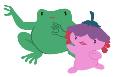 An image of Varian the toad and Xiaolong the axolotl, both arms raised like they are about to cast magic,