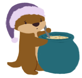 Cuddle the otter, stirring a big pot of mushroom soup
