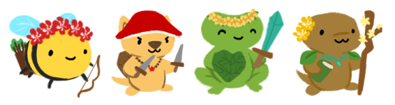 A banner of premade characters you can make for the Pondathon: a bee wielding a bow and wearing a flower crown; a dog wearing a mushroom hat and holding twin daggers; a frog wearing a flower crown with a sword and shield; a lizard holding a flower staff and a book,