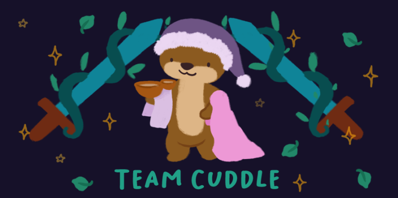Team Cuddle. Image of Cuddle the otter, wearing a purple pajama hat, holding onto two blankets and balancing bowls of soup in one arm.