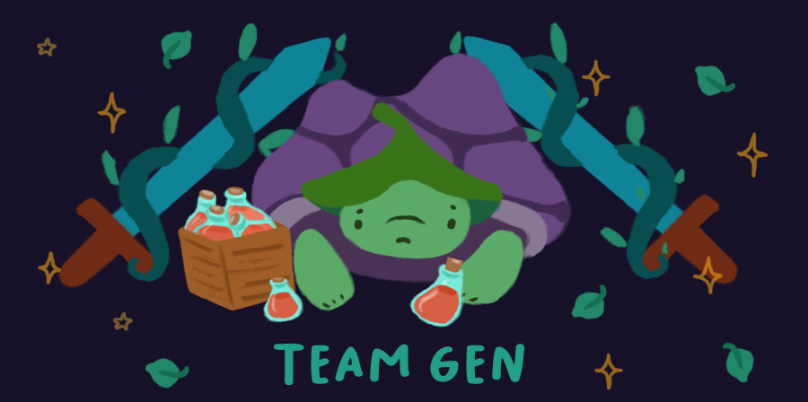 Team Gen. Image of Gen the Tortoise in front of potions and next to a wooden box full of potions.