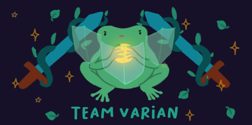 Team Varian. Image of Varian the Toad, holding a golden orb of light, and three shields around them.
