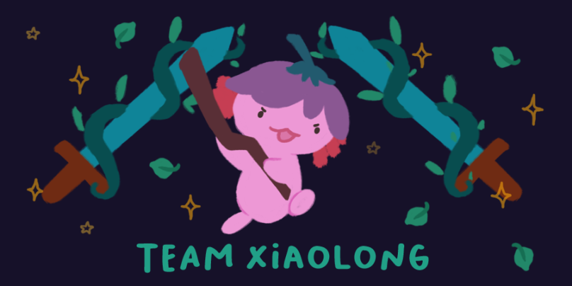Team Xiaolong. Image of Xiaolong the pink axolotl, wielding her staff, and doing a jump attack.