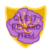 Mark of the Brave Quest Reward Item. A purple flower on a golden shield.