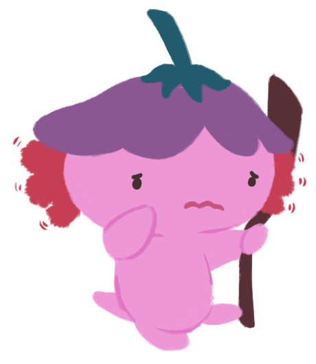 Xiaolong the axolotl, with a worried expression on her face, and wiggling her gills at night.