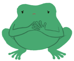 Varian the toad with both their hands over their chest, eyes downcast with a sad expression.