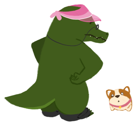 Aunty Buaya, an old crocodile wearing a visor hat and glasses, has hands on her hips with a disapproving look. In front of her, is Bao the corgi, who looks up at Aunty Buaya with puppy and sparkly eyes.