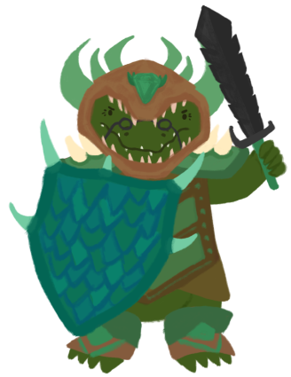 Aunty Buaya, an old crocodile, wearing paladin armour and holding up a saw tooth sword.