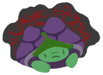 Gen the tortoise, with a distressed expression, with a dark cloud hovering around him, his thoughts a mess.