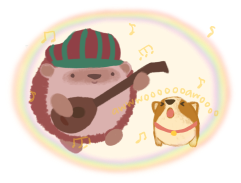 Amina the hedgehog and Bao the corgi, singing and making music together and making a magical barrier with their music.