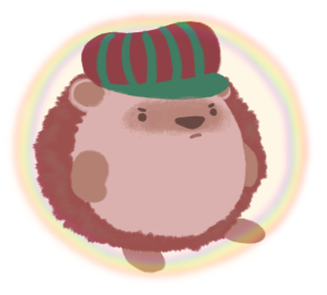 Amina the Hedgehog with a disgruntled expression, with a rainbow magic shield protecting her.