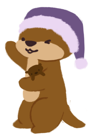 Cuddle the otter, holding her hands up out wide, like she is showing off and is proud of something.