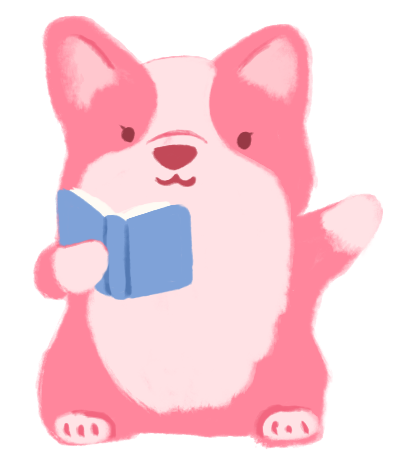 Lyla Lee as a pink corgi, standing on her hindlegs, and holding up a book and waving hello.