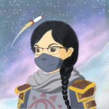 An illustration of Mackenzie, with her hair plaited and down her shoulder, wearing armour and a face/ninja mask, with a rocket flying behind her in the distance.