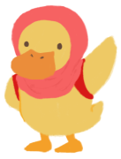 Illustration of Adiba Jaigirdar as a yellow duckling, wearing a hijab with a red backpack on her back.