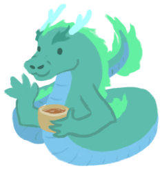 Aliette de Bodard, illustrated as a teal and blue East-Asian dragon holding a teacup.