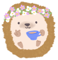 Illustration of Christina Li as a hedgehog, wearing a flower crown, holding a cup of tea while doing the victory hand sign with her other hand.