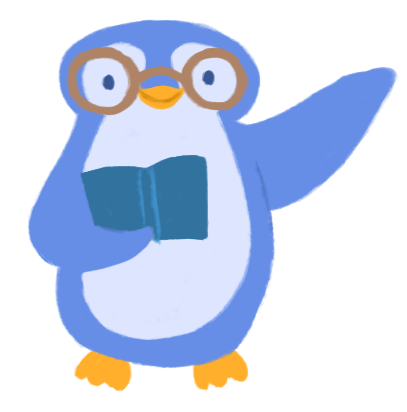 Illustration of Hena Khan as a blue penguin, holding a book and wearing glasses, with one flipper held up in a wave.