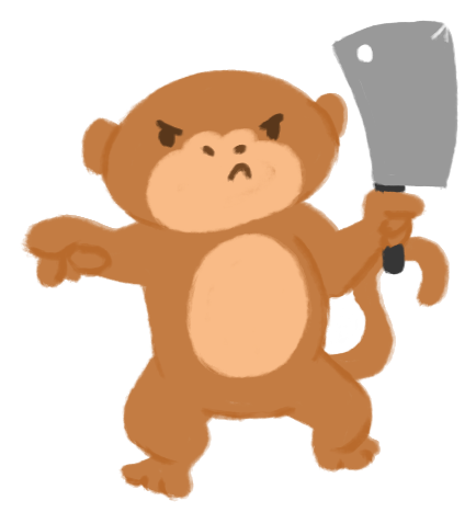 Illustration of an unimpressed monkey, pointing at the view, holding up a cleaver menancingly.