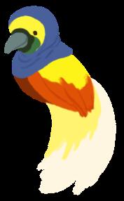 Illustration of Ikram as a orange and yellow cendrawasih wearing a hijab.