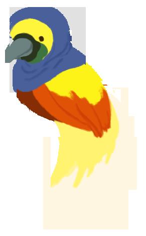 Illustration of Ikram as a orange and yellow cendrawasih wearing a blue hijab.