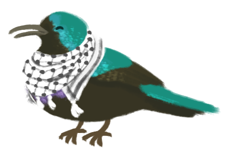 Illustration of a Palestinian Sunbird wearing a keffiyeh around its neck.