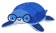 June Hur as a blue turtle wearing glasses, winking.