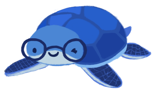June Hur as a blue turtle wearing glasses, winking and smiling.