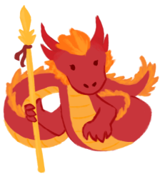 An illustration of Katie Zhao as a red chinesee dragon, holding a golden staff.