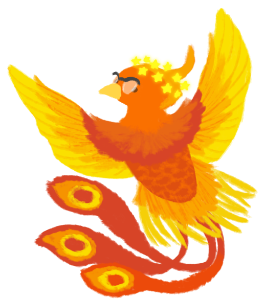 An illustration of Mackenize as an East Asian phoenix wearing glasses and a star crown.