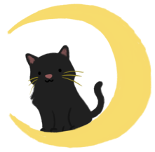 Illustration of a black cat, sitting atop a crescent moon.