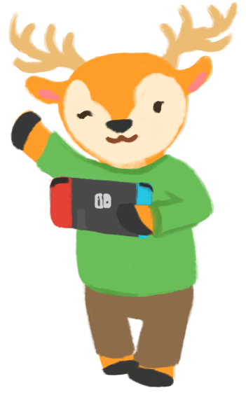 An illustration of a deer wearing a green jumper, waving at you, and holding a Nintendo Switch.