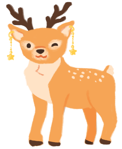Illustration of Sylvia as a deer, winking and wearing dangling earrings.