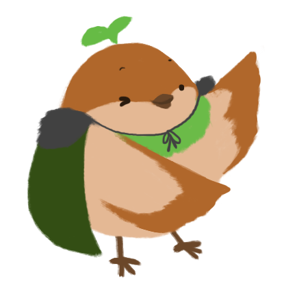 Sprout the sparrow, with their wings spread wide like they are showing off something.