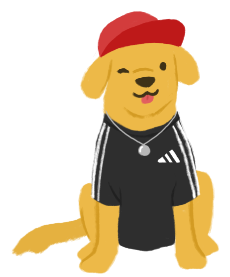 An illustration of Aiden Thomas as a golden retriever sitting down, wearing a red snapback hat, a Black adidas t-shirt with white stripes down the shoulders, and wearing a silver necklace with a round pendant. He is sticking his tongue out and winking at you.