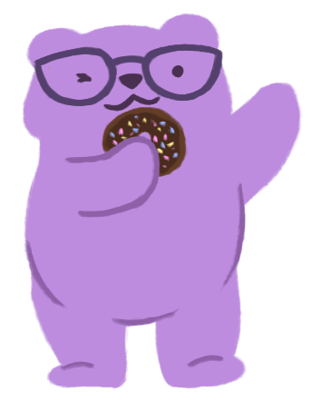 An illustration of Alechia Dow as a purple bear wearing glasses and holding a chocolate donut.