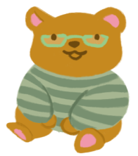 An illustration of a brown bear, wearing a sage-green sweater, sitting and smiling.