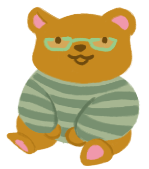 An illustration of a brown bear, wearing a sage-green sweater and green rectangular glasses, sitting and smiling.
