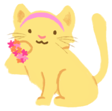 An illustration of Cande as a soft yellow cat wearing a pink hairband and a flowery bracelet.
