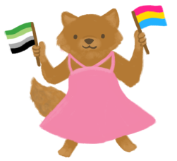 An illustration of a smiling brown wolf wearing a strappy pink dress, and holding an aromantic flag in one hand and the pansexual flag in the other hand.