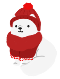 An illustration of an arctic fox wearing a red scarf and red beanie.