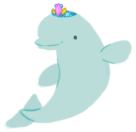 Julia Ember as a smiling beluga whale, wearing a sparkly tiara, with one fin up and waving at you